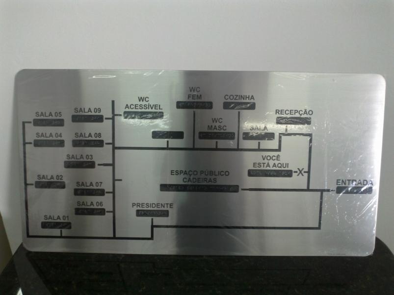 Mapa Tátil Braille/Relevo Aço Inox
